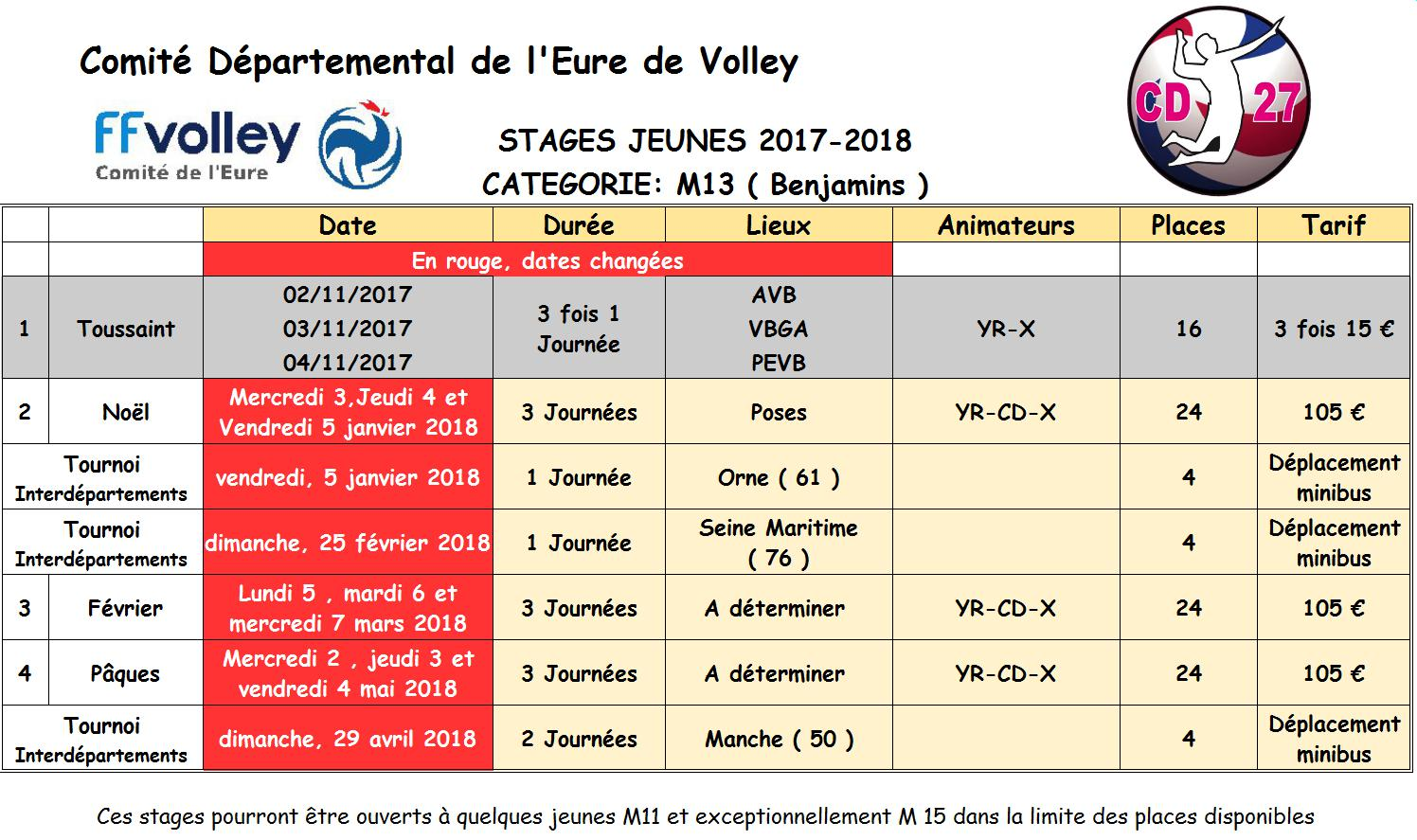 Calendrier stages M13